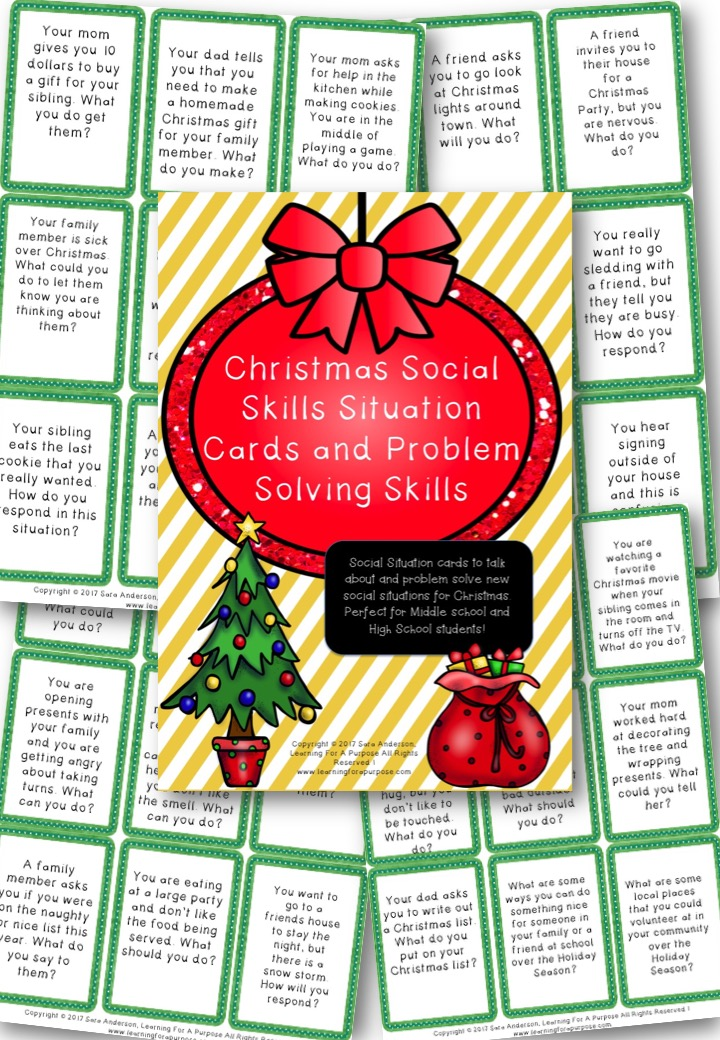 Christmas Social skills Situation Cards Preview Image