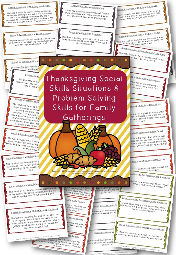 Thanksgiving Social Skills Situation Cards Preview