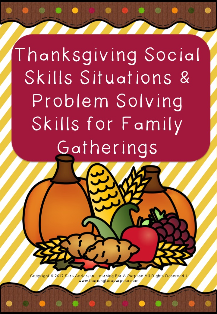 Thanksgiving Social Situation Cards and Problem Solving