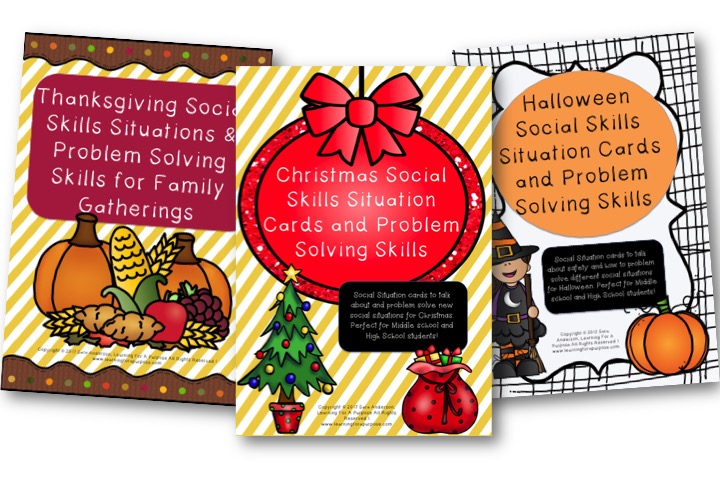 Holiday Social Skills Situation Cards Bundle