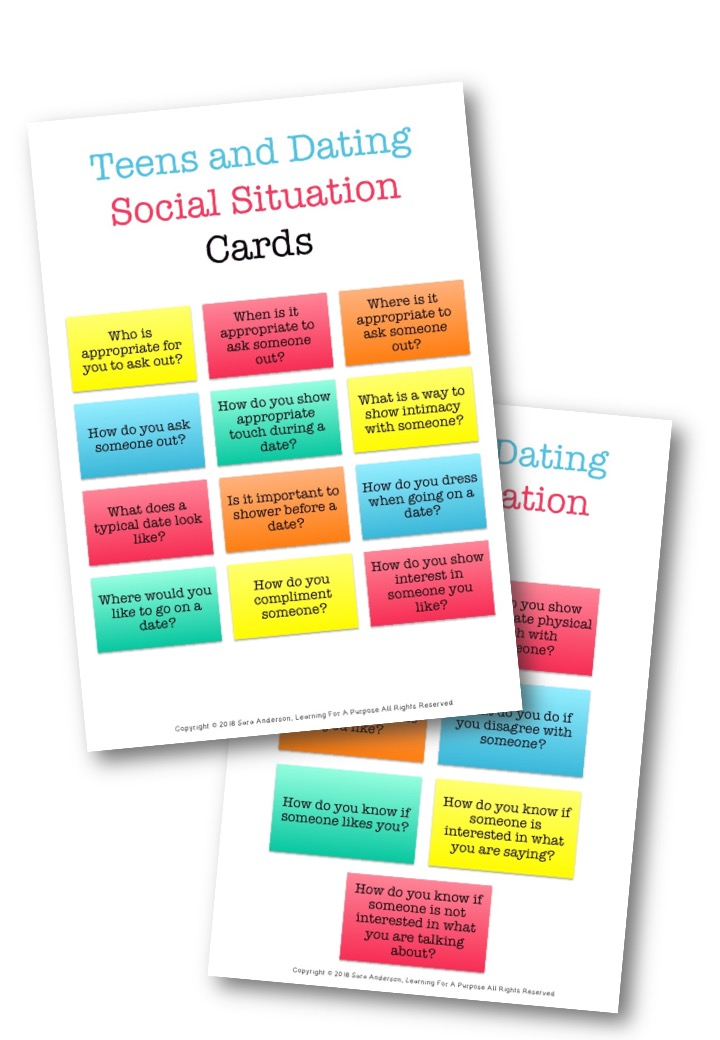 Teens and Dating Social Situation Cards #dating #socialskills #autism #teens