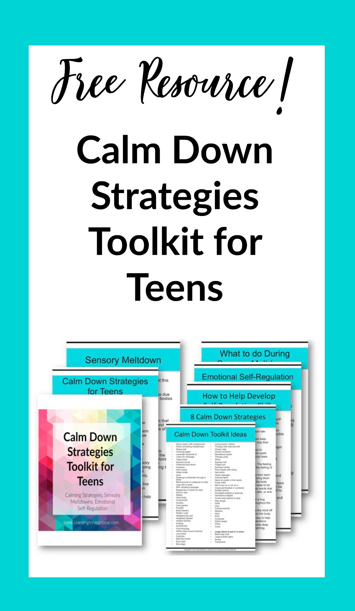 Calm Down Strategies Toolkit for Teens #calm #sensorymeltdowns #self-regulation