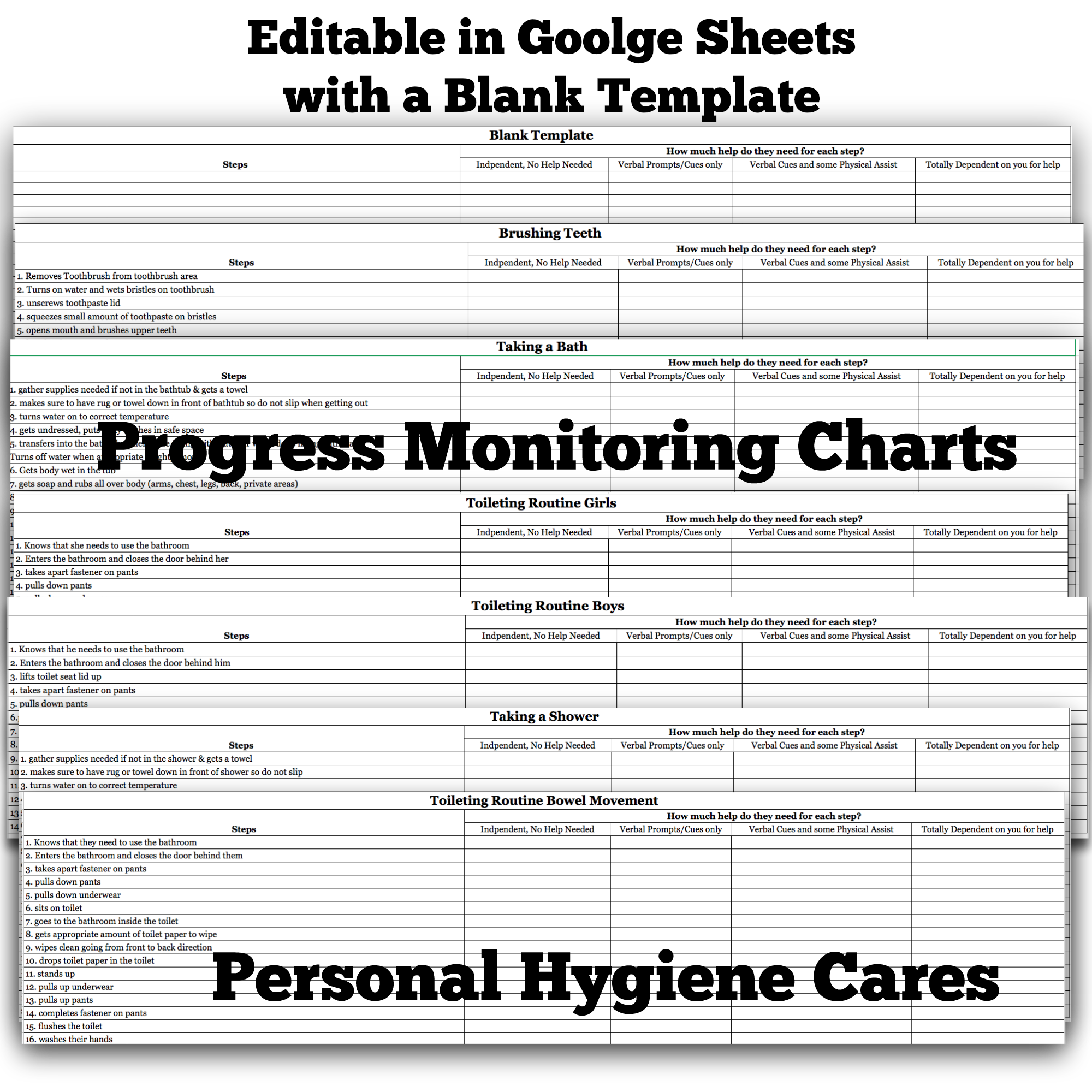 Progress Monitoring charts life skills course display image