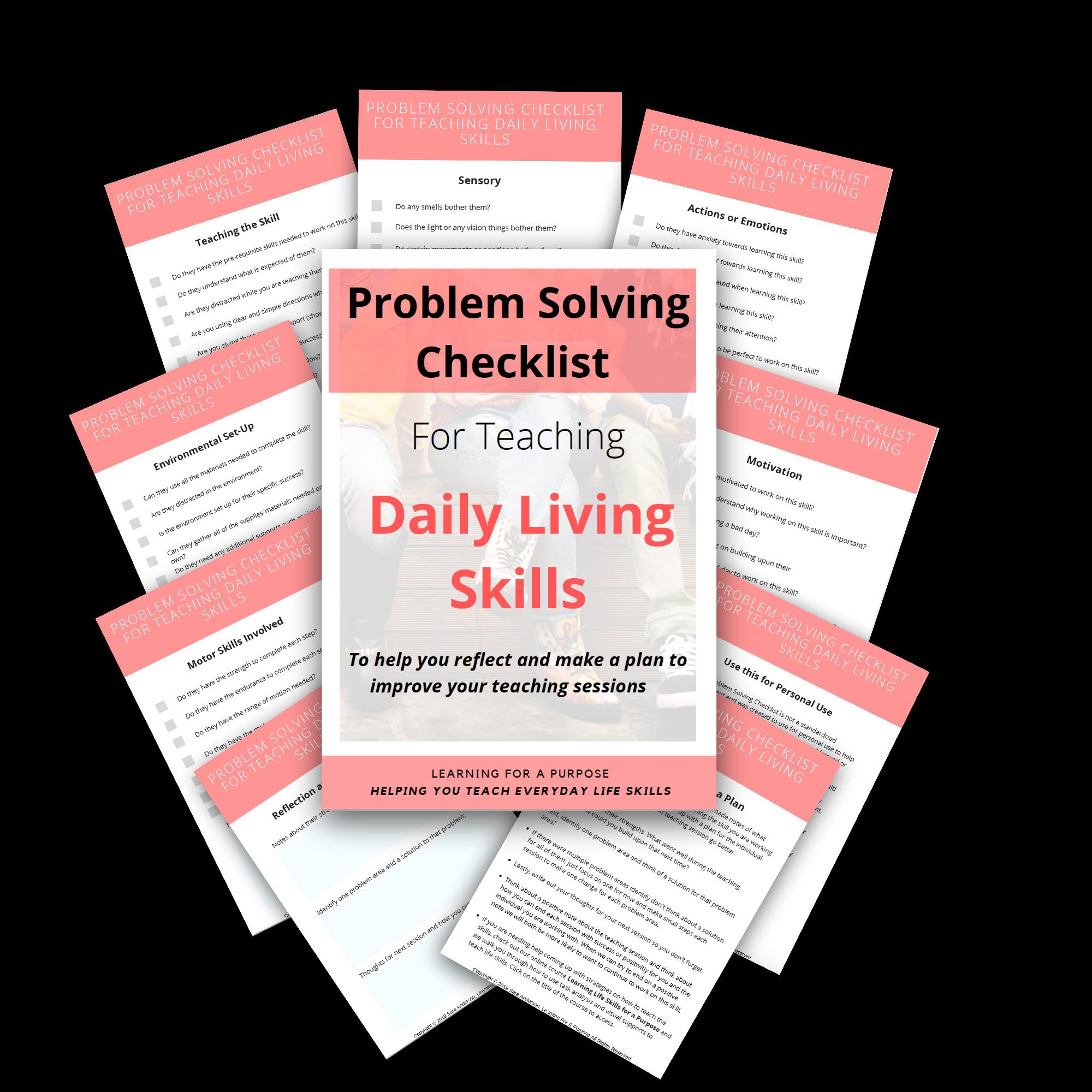 Problem Solving Checklist For Teaching Daily Living Skills